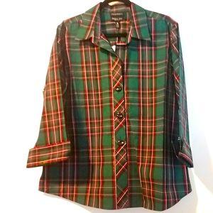 18 Foxcroft Holiday Plaid Wrinkle Free Shirt NWT